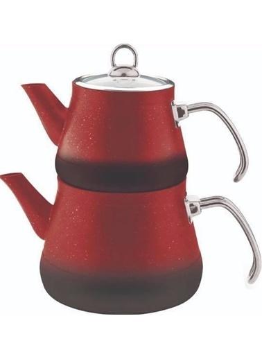 Remetta Granit Metal Kulp Çaydanlık Takımı - Kırmızı Kırmızı